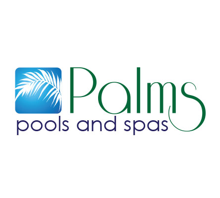Palms pools and spas logo design for Pool design company polen